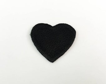 Black Heart Iron on Patch - Black Heart Applique Embroidered Iron on Patch Size 3.3x3.0 cm