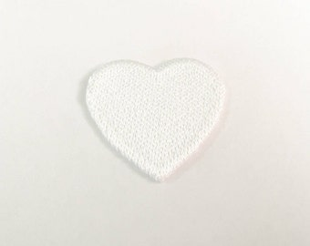 White Heart Iron on Patch - White Heart Applique Embroidered Iron on Patch Size 3.2x3.0 cm