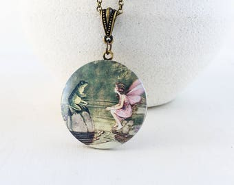 Fairytale Photo Locket Necklace, Pink Fairy Green Frog Whimsical Long Chain Locket Pendant, Keepsake Necklace, Woodland Nature Inspired