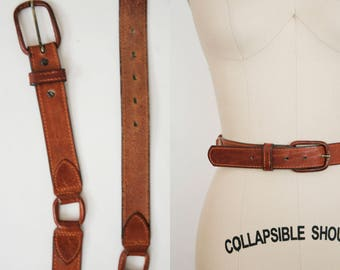 """Vintage 1970s Leather Belt - 1.25""""  - Square Accents - Leather Buckle - Brown Leather Boho Belt"""