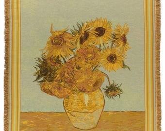 Van Gogh Throw Blanket - Sunflowers Tapestry Throw - 56x56 Belgian Tapestry Throw - Van Gogh Design Throw Blanket - TT-7119