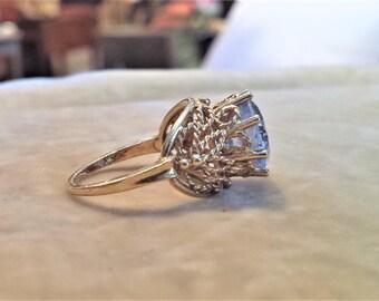 14K Gold Filigree, Blue Spinel Ring