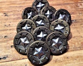 Set of 11 Cut Steel Star Buttons