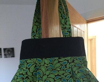 Beautiful handmade fully reversible bag in green and black