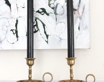 Vintage Candle Holder - Brass Candlestick Holders- Vintage Table Decor- Vintage Brass Candlesticks- Pair of Brass Candlestick Holders