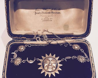 Sun and Moon Necklace, Vintage Silver Sun and Moon necklace, Sun Jewellery, Moon Jewellery, Sterling Silver