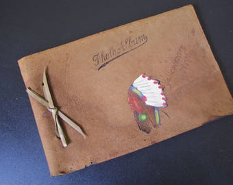 """Vintage Leather Indian Headress Photo Album Snap Shot/ Hand Painted Native American, Yellowknife Canada/ 6"""" X 9"""""""