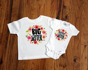 Big Sister - Little Sister - Floral Matching Shirts