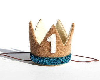 1st Birthday Crown | Little Prince Crown | King Crown | Baby Boy Crown | Brown Crown | First Crown | Cynamon | Crowns | Glitter | Blue