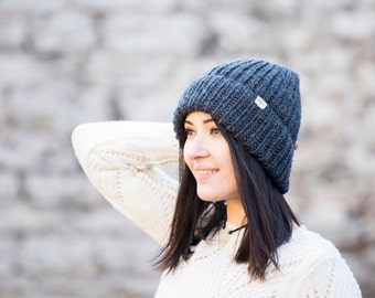 Merino & Mohair hand knitted beanie // Warm and Soft // High quality Yarn // Fits most sizes