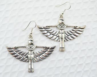 Ethnic earrings - Egyptian goddess - large earrings - silver pendants