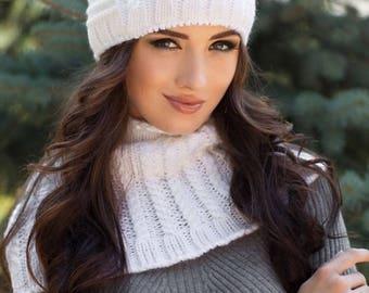 Pussy hat-Cat hat-Pussyhat-White wool knit Cat ears hat fleece lined -Ears hat-Cat beanie hat-Cat lovers gift-Winter hat for women-Beanie