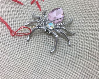 Needle Minder, pink crystal spider, magnetic needle keeper, needle holder, cross stitch accessory