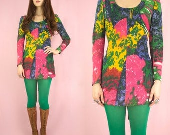 Acid Forest 60s Neon Psychedelic Lurex Micro Minidress