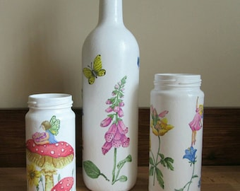Set of three. Bottle and jars. One of a kind fairy decoupage design. Ornamental decorative vases. Fairy ornaments.