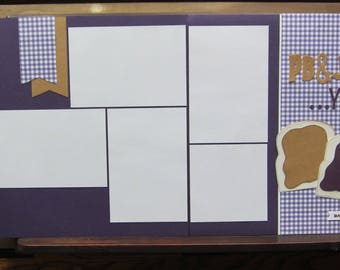 Pre Made PB&J Scrapbook Page/Peanut Butter and Jelly Scrapbook Layout