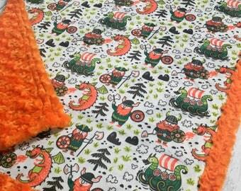 Viking Blanket - Designer Minky - Orange