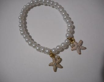 Pearl and Starfish Bracelet and Earrings