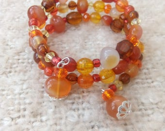 Orange and Red Genuine Carnelian Gemstone Memory Wire Bracelet - Bangle