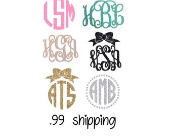 Glitter Monogram Sticker Monogram Decal Camelbak Yeti Monogram