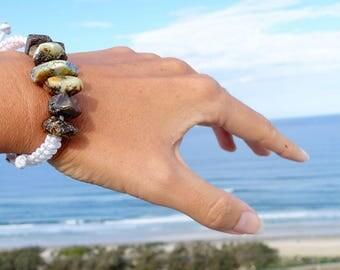 Amber Bracelet, White Cotton Bracelet, Hand Braided Baltic Amber Bracelet, Amber, Macrame Bracelet, Ambre