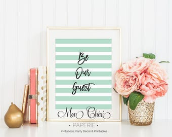 Be Our Guest Mint Green Stripe Wall Art | Printable  Wall Art |  Home Decor | Be Our Guest | Wall Art |