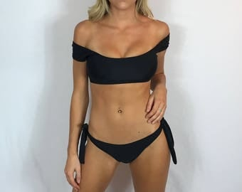 "Medium Off The Shoulder Bikini Swimsuit ""Manhattan"" Black Strappy Brazilian Bikini Cheeky Bikini Cute Bathing Suit Pepper Blackwood"
