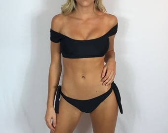 "Large Off The Shoulder Bikini Swimsuit ""Manhattan"" Black Strappy Brazilian Bikini Cheeky Bikini Cute Bathing Suit Pepper Blackwood"