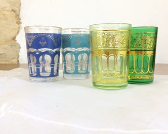 Four French Shot Glasses. Set of Four Vintage Tumblers in Blue and Green with Eastern Style Decoration.