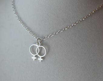 Girl Love Double Venus Symbol Necklace / lesbian queer girl power female jewelry