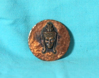 Copper Tribal Brooch Pendant