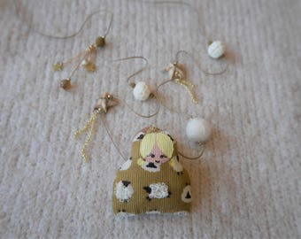 Ochre necklace - poupette sheep printed velvet Ecru - off-white and Tan beads