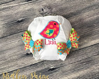 Bird Personalized Bloomer, Rainbow Bird Diaper Cover, Monogram Diaper Cover with Bows, Bird Baby Girl Clothes, Bird Panty Cover for Girls