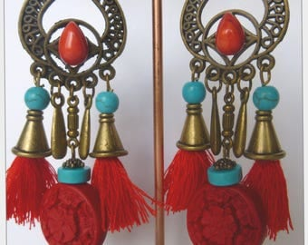 "Earrings, ethnic style ""Party lanterns"" bead cinnabar, bronze, red tassels, turquoise and Red Howlite stone"