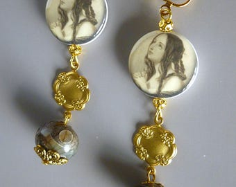 "Clip earrings, style romantic ""EMMA"", metal, brass vintage, porcelain beads, agate print"