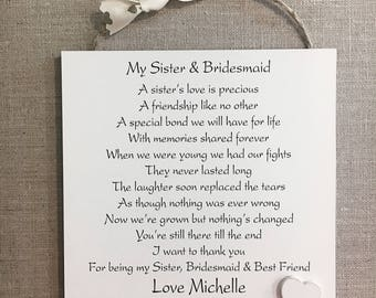 Sister Thank You Gift Bridesmaid Personalised PlaqueWooden Card W240