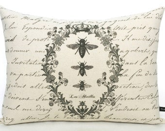 French Bees pillow cover vintage wreath script writing 12x16 cotton canvas cushion #225 FlossieandRay