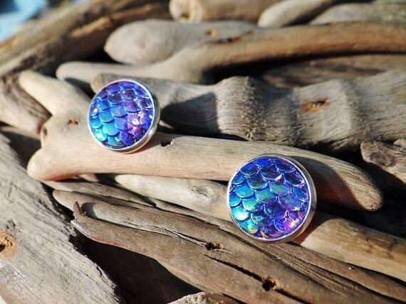 Purple Mermaid Tail Scale Scales Dragon Dragons Iridescent Studs Stud Earring Earrings Daenerys Targaryen Ariel Game of Thrones