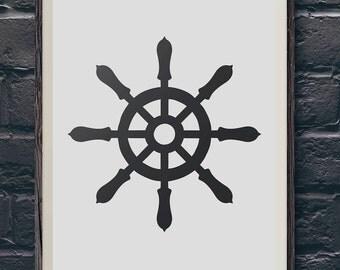 Ship Wheel Helm Print Silhouette Printable Wall Art Home Nautical Decor Instant Download 8x10 JPG Digital Print