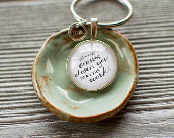 Saint Quote Keychain, God Has Chosen You Keyring, Religious Keychain, Christian Gifts for Her, 402080