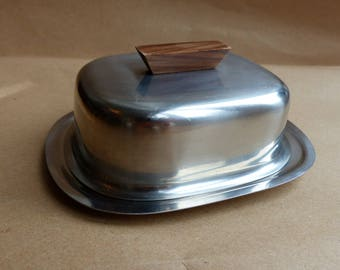 Vintage 1970s Lundtofte Stainless Steel Wooden Handle Denmark Butter Dish - Retro Tableware