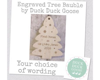 Christmas Tree Bauble Engraved and Personalised by Duck Duck Goose
