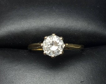 0.75 carats 18K Yellow and whie gold Diamond ring, Engagement ring, vintage diamond ring