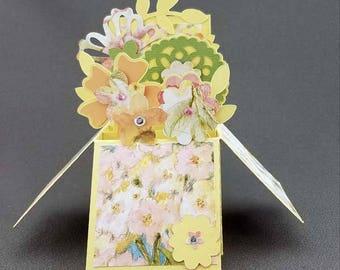 Handmade Flowers box card Yellow