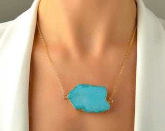 XXL Large Turquoise Pendant, Gold Dipped Turquoise Slice Necklace, Gemstone Necklace, Turquoise Nugget Necklace, Boho Gold Filled Necklace