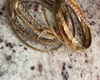Cross Gold Bangles Set