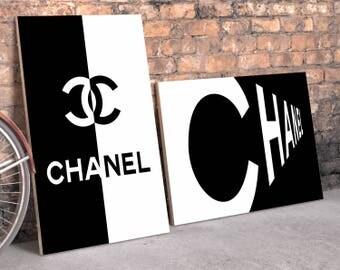 Coco Chanel prints. Coco Chanel logo, Coco Chanel wall art. Set of 2, Fashion set prints. Coco Chanel poster. Coco Chanel black and white.