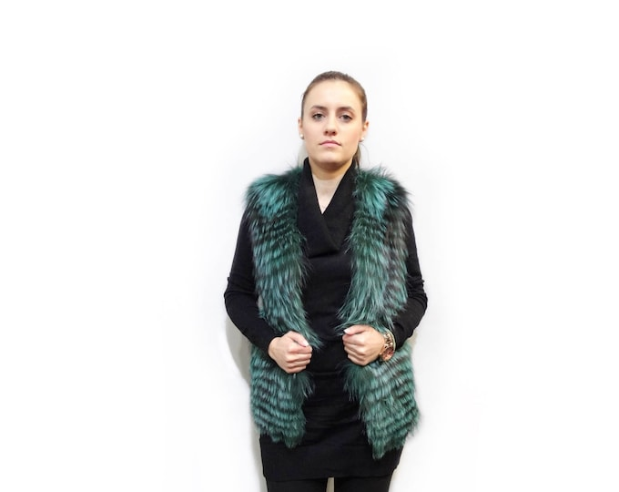 Sleeveless Jacket,Green Fur Vest F383