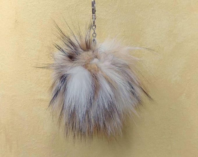 Fox Fur Pom Pom, Bag Pom Pom,Fur keychain F631