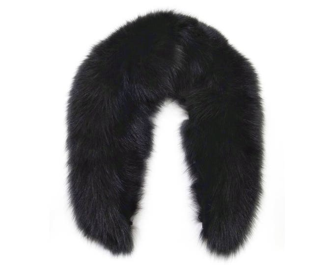 Black Fox Collar, Special Fur for Leather Jacket F670